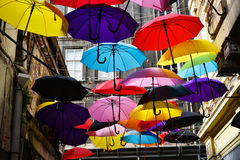 Colorful Umbrellas At The Street of Istanbul Stock Image