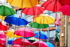 Colorful umbrellas on a street of London Stock Image