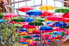 Colorful umbrellas on a street of London Royalty Free Stock Photo