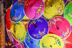 Colorful umbrellas in Thai tourism in Bangkok, Thailand. royalty free stock photography