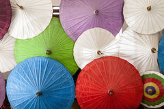 Colorful umbrellas with wooden handle, Chiang Mai, Thailand. Stock Photography