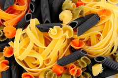 Colorful uncooked pasta Royalty Free Stock Images