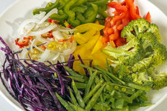 Colorful Uncooked Vegetable Components of Chop Suey Stock Photo