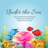 Colorful under the sea illustration. Under the sea illustration with coral reef and colorful fish, additional file in eps 10 Stock Images