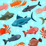 Colorful under water world animals wallpaper with fish, octopus, seahorse starfish and others ocean nature water. Background graphic aquarium sea life vector Stock Images