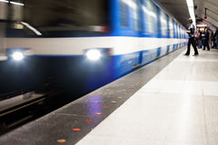 Colorful Underground Subway Train with motion blur Stock Images