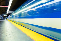 Colorful Underground Subway Train with motion blur Stock Image