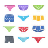 Colorful underpants set. Female and male pants Stock Image