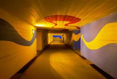 Colorful underpass. Stylish underpass with vivid colors at night Royalty Free Stock Photography
