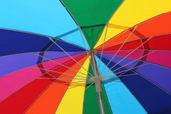 Colorful underside of an summertime umbrella Stock Image