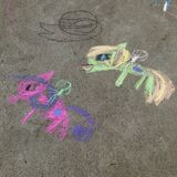 Unicorn Chalk Drawing stock photos