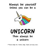 Colorful Unicorn Head Funny Quote. Lettering on white background vector illustration