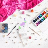 Colorful unicorn painted in colors Stock Photos