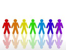 Colorful Union. A 3D image depicting a colorful team working together in unity leaving their differences Royalty Free Stock Photo