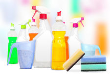 Colorful unlabeleled cleaning products Stock Photography