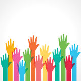 Colorful up hand background Stock Photo