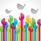 Colorful up hand and bird Stock Photography