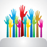 Colorful up hand, concept of democracy Stock Image