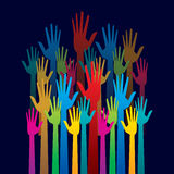 Colorful up hand, concept of democracy Royalty Free Stock Image
