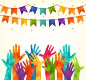 Colorful up hands. Vector illustration, an association, unity, partners, company, friendship, friends background Volunteers celebr. Colorful up hands. friends stock illustration