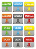 Colorful upload and download buttons Royalty Free Stock Photos