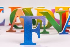 Colorful uppercase english letters. On white background stock photo