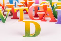 Colorful uppercase english letters. On white background royalty free stock photos