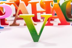 Colorful uppercase english letters. On white background stock images