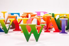Colorful uppercase english letters. On white background stock image