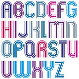 Colorful uppercase letters with rounded corners, bold striped fo Stock Photo