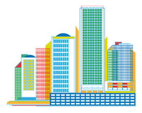 Colorful Urban Panorama with Skyscrapers -  geometrical graphic Stock Image