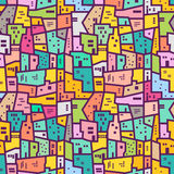 Colorful urban seamless pattern. Flat style. Colorful urban seamless texture. Positive vector pattern in flat style Stock Images