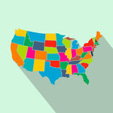 Colorful USA map with states flat icon Stock Photos