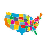 Colorful USA map with states icon Royalty Free Stock Photos