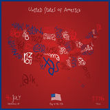 Colorful USA Map With States Vector Stock Photography