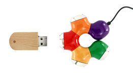 Colorful usb hub and usb flash drive isolated on white background Royalty Free Stock Images
