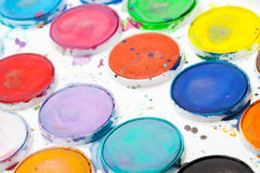 Colorful used watercolor paints Royalty Free Stock Photography
