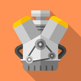 Colorful v twin engine icon in modern flat style with long shadow. Car parts Stock Images