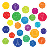 Colorful vacation icons. Vector illustration Royalty Free Stock Photo