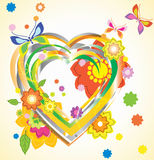 Colorful Valentine background. With heart and flowers Stock Images