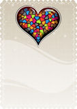 Colorful Valentine heart on a beige background.  Royalty Free Stock Image