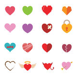 Colorful valentine heart icons. Vector symbols Royalty Free Stock Image
