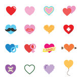 Colorful valentine heart icons. Vector symbols Stock Photo