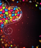Colorful Valentine hearts. Valentines Day card Royalty Free Stock Image