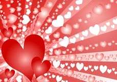 Colorful Valentine's Day Heart Background. A colorful and decorative Valentine's Day background featuring dozens of white, pink and red hearts set against Royalty Free Stock Photography