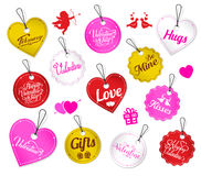 Colorful Valentine Tags Vector Set With Cupid And Love Birds. On White Isolated Background Stock Images