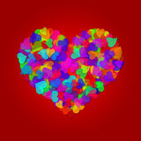 Colorful Valentines Day Hearts on Red Background Stock Photography
