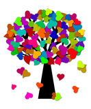 Colorful Valentines Day Hearts on Tree Royalty Free Stock Images