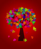 Colorful Valentines Day Hearts Tree Red Background Royalty Free Stock Photography