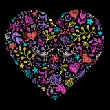 Colorful Valentines heart. With birds,flowers and other elements.Vector illustration Royalty Free Stock Image